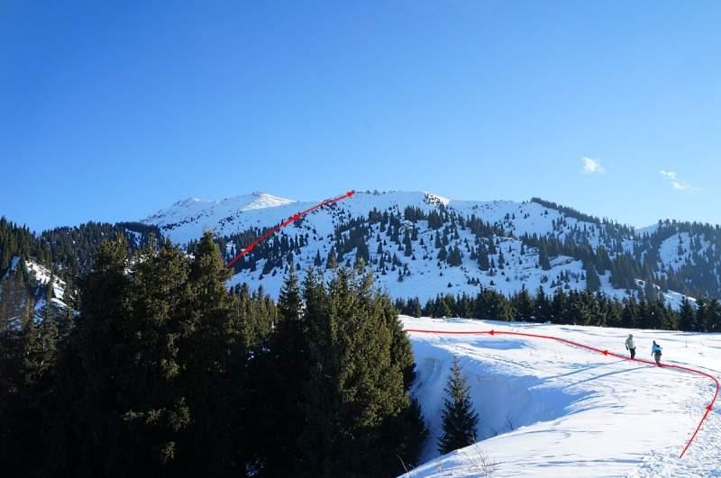Путь от Кок Жайляу на вершину Три брата 2860 м