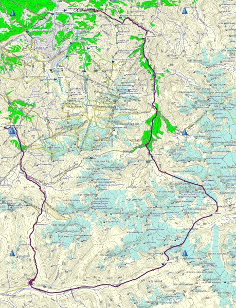 Карта треккинга: БАО-Озерный-Чонг Кемин-Чилико-Кеминский-Жангырык-Попова-Южн. Тогузак-Лев. Талгар-Бутаковский-Медео