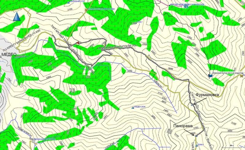 Карта трека, от домика егеря в Кимасаровском ущелье, до вершины Панорамы
