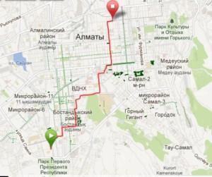 Трек первой поездки на велосипеде, из дома на работу
