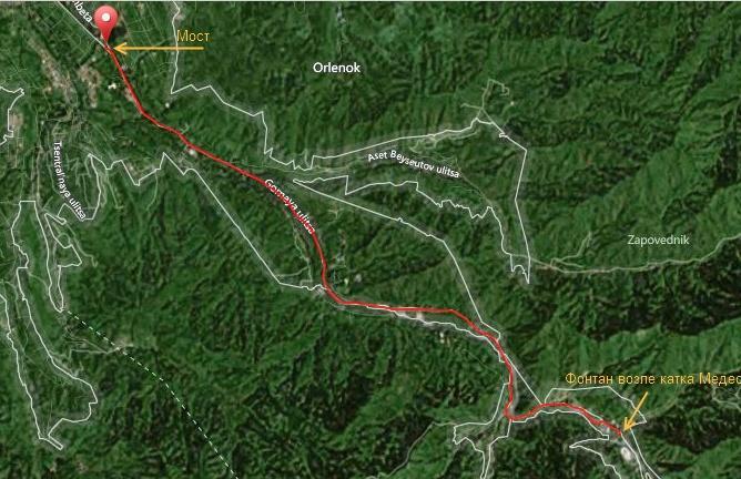 Трек вело маршрута Мост-Медео