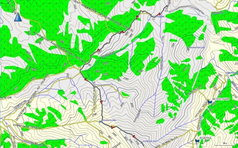 Карта трека от остановки автобуса на Просвещенце до вершины Кумбель