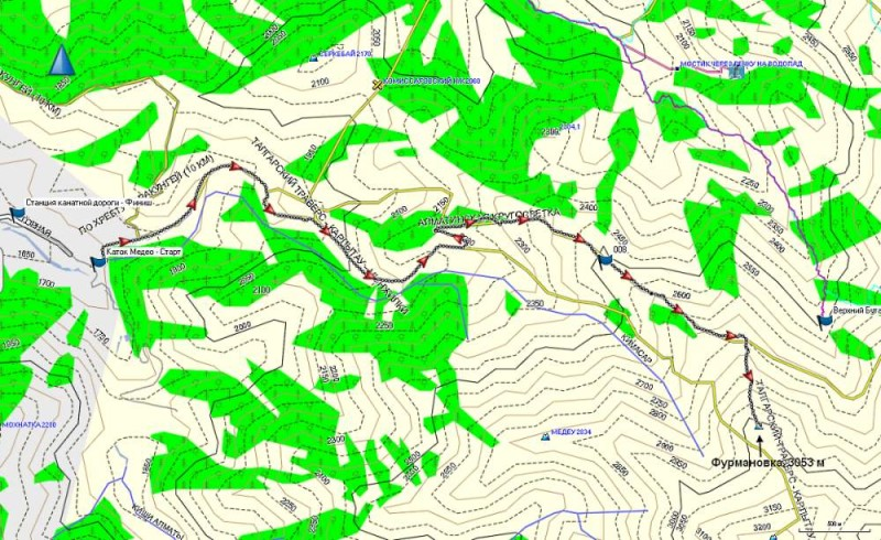 Карта трека от Медео до Фурмановки