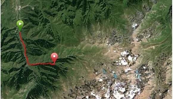 Карта Ущелье Казачки - ответвление Каскеленского ущелья - Казачьи озера