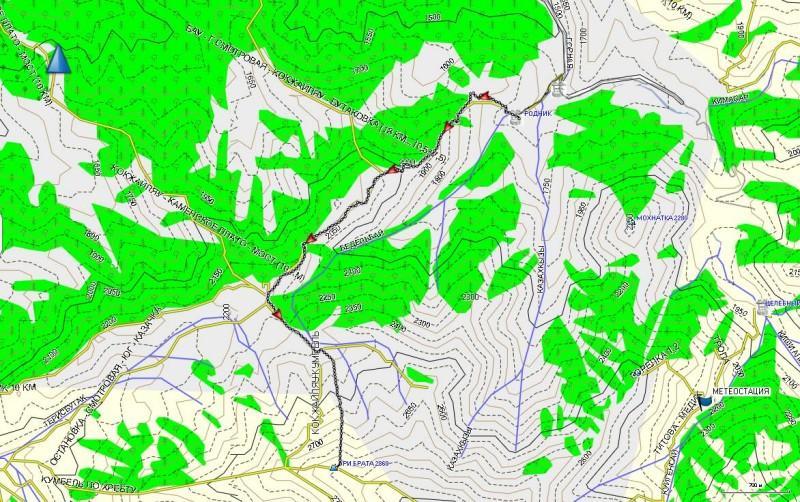 Карта трека до вершины Три брата, от родника на Просещенце