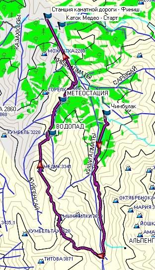 Карта Чимбулак - Мынжилки - Память (3665 м)) - гора Мынжилки (3630 м) - Медик (3341 м) - Горельник - Медео