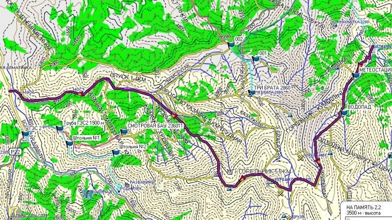Карта: Горельник - Терешковой (3435 м) - Юный Геолог (3227 м) - 2-я ГЭС