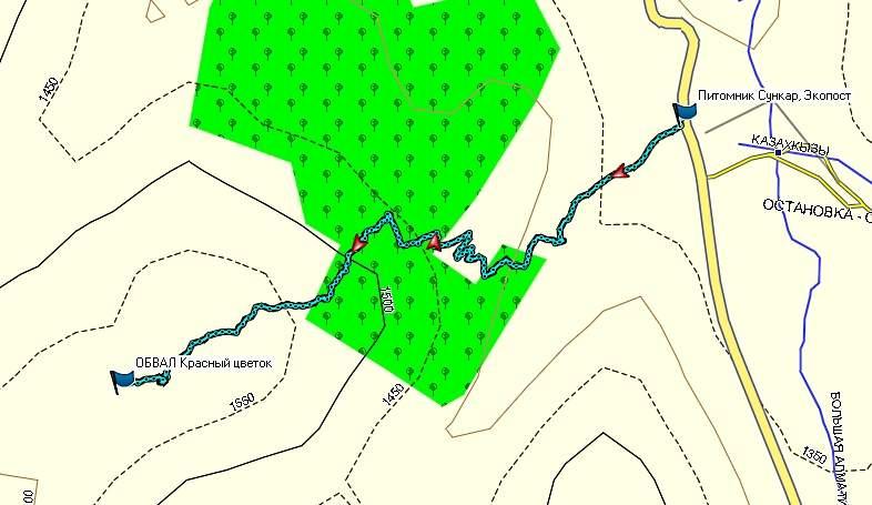 Карта маршрута к обвалу Красный цветок, от экопоста в Большом алматинском ущелье