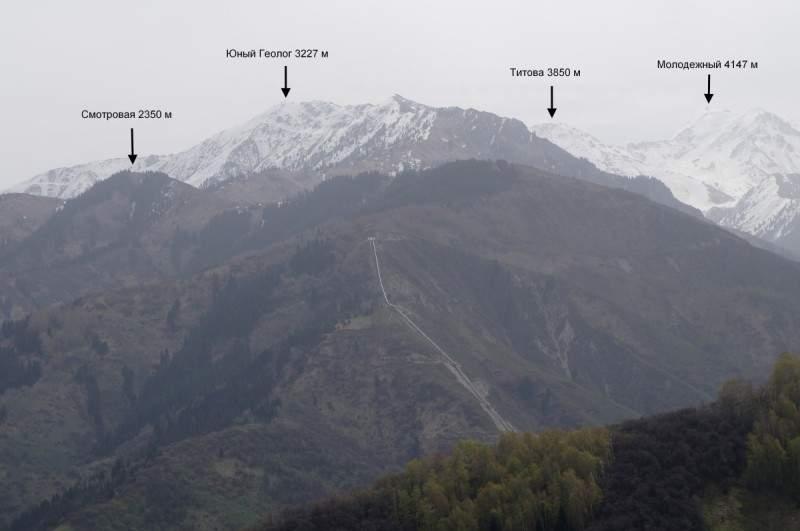 Вид на горы возле 2-й ГЭС от обвала Красный цветок
