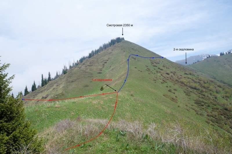 Гора Смотровая 2350 м. Трек №1, показан красной линией, №2 - синей