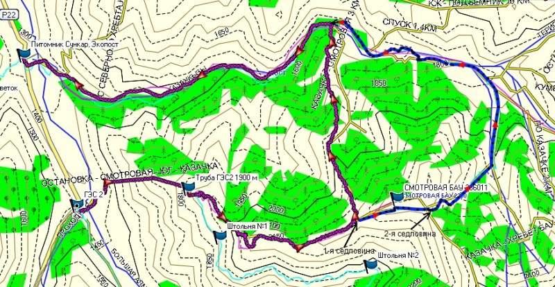 Карта маршрута 2-я ГЭС-Казачка-5-я ГЭС. Красным обозначен маршрут №1, синим, продолжение маршрута №2 от 1-й седловины