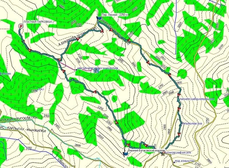 Карта маршрута: Бутаковское ущелье - перевал Лесной (2250 м н.к.) - пик Пионерский(Букреева) (3010 м) - гора Котырбулак (3030 м) - перевал Бутаковский (2880 м н.к.) - Бутаковское ущелье
