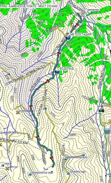Карта маршрута к моренным озерам Горельника
