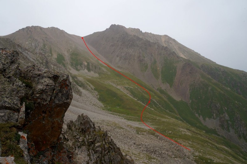 Перевал Беркут Тас (3610 м) со стороны ущелья Проходного