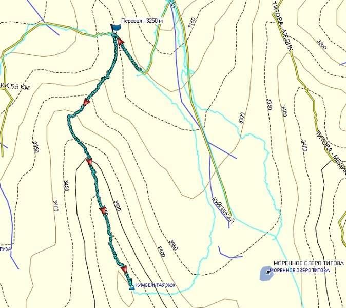 Карта маршрута от места ночевки под Кумбельтау до вершины. Голубой, тонкой линией обозначен обратный трек