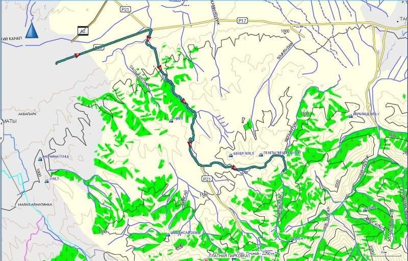 Карта маршрута от пересечения Восточной объездной дороги и Талгарской трассы до Лесной сказки