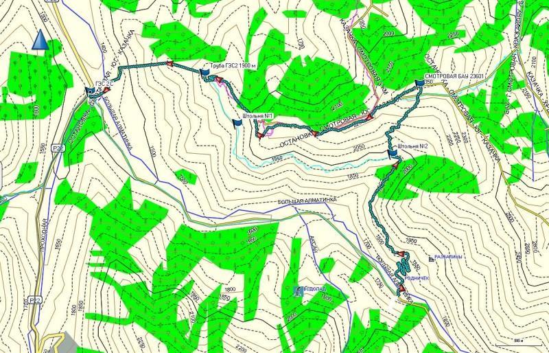 Карта маршрута на гору Смотровую (2350 м)