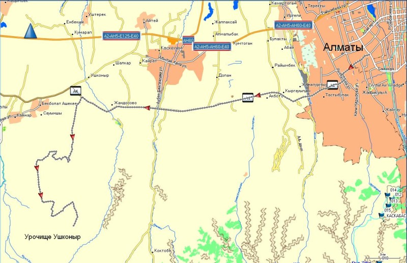 Карта проезда от Алматы от пересечения улиц Саина-Жандосова до плато Ушконыр