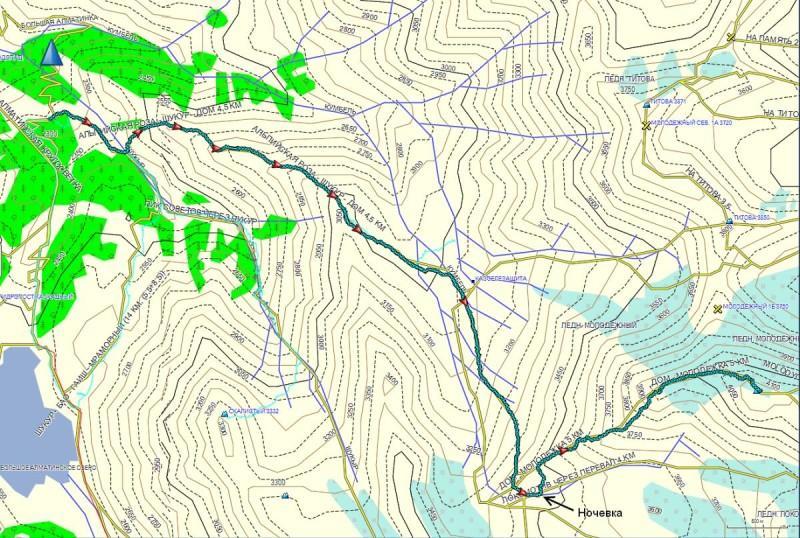 Карта маршрута на Молодежку от отеля Альпийская роза, через ущелья Шукур и Кумбельсу