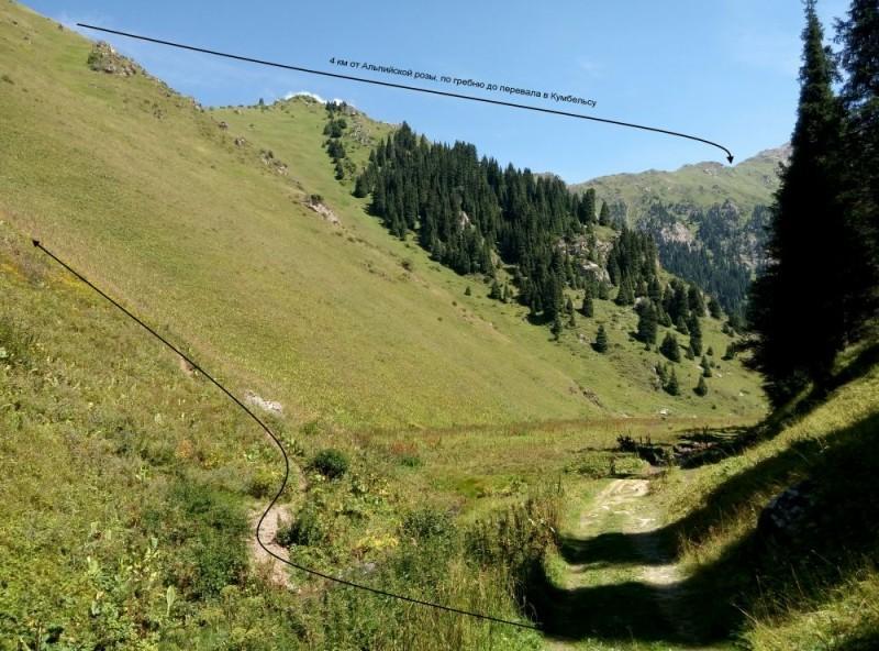 Путь подъема на перевал в Кумбельсу из Шукура