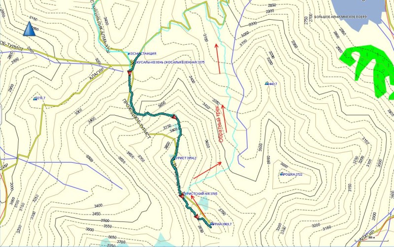 Карта треккинга на пик ИЯФ, от Космостанции, через Турист