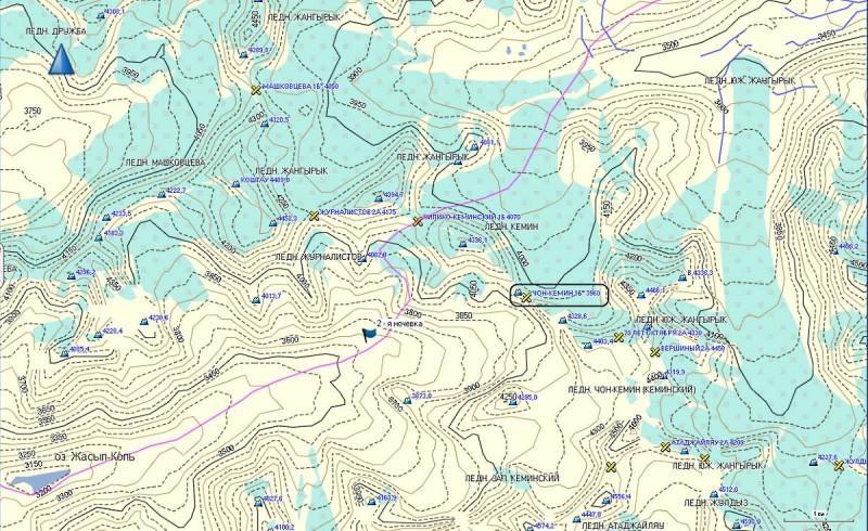 Карта, на которой перевал Чон Кемин, обведен черным прямоугольником, на карте высота ошибочно указана - 3960 метров.