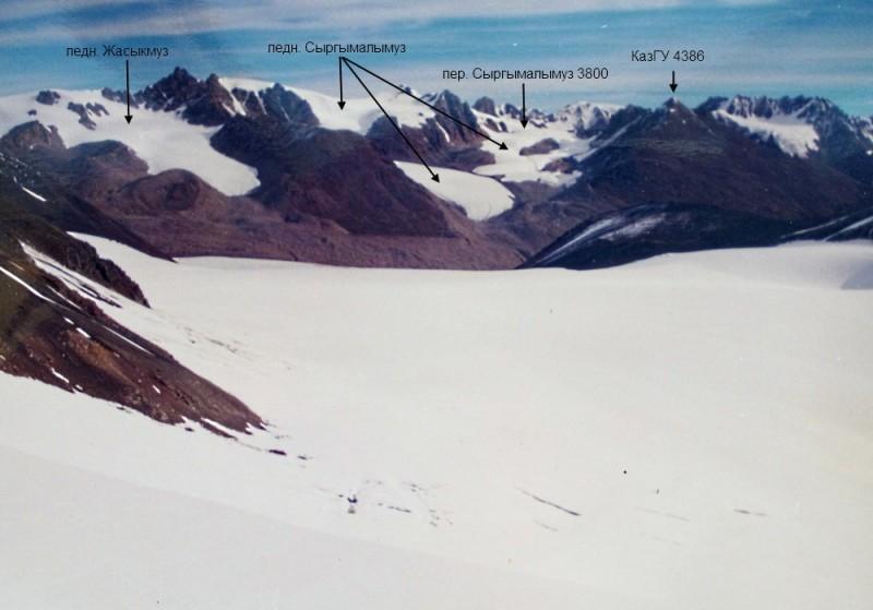 Горы и ледники по ту сторону перевала Чон Кемин, внизу ледник Жангырык