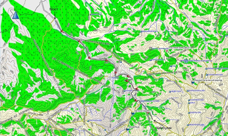 Карта маршрута Мост - Чимбулак