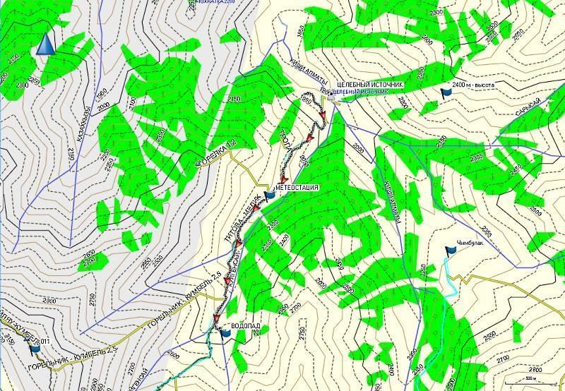 Карта трека от входа в ущ. Горельник до водопада
