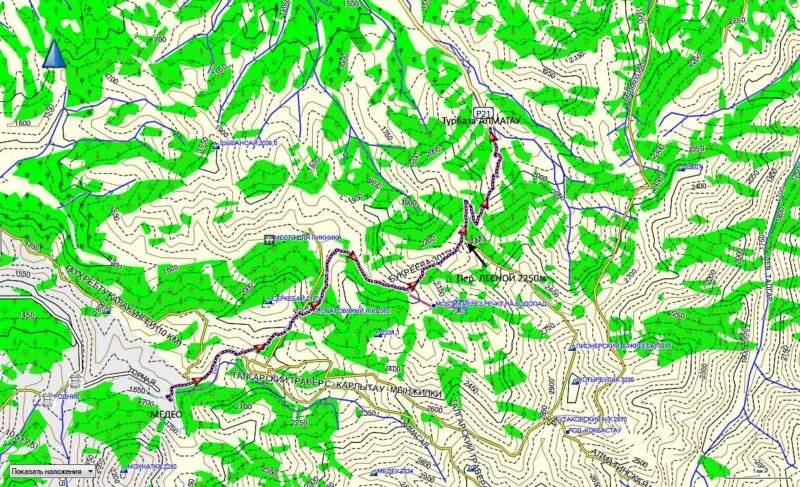 Карта маршрута от Медео до Алматау