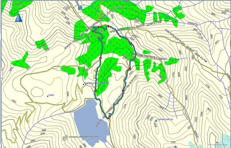 Карта треккинга от отеля Альпийская роза, через ущелье Шукур, с выходом к Большому алматинскому озеру