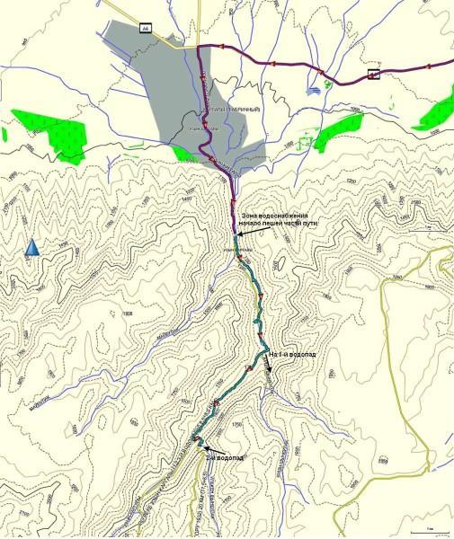 Карта от пос. Каргалы (Фабричный) до 2-го водопада