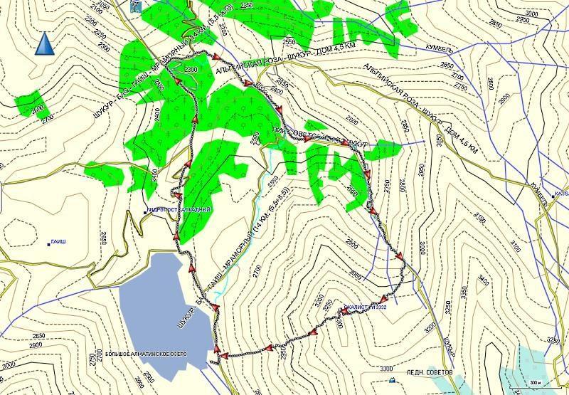 Карта трека Шукур-Скалистый-БАО