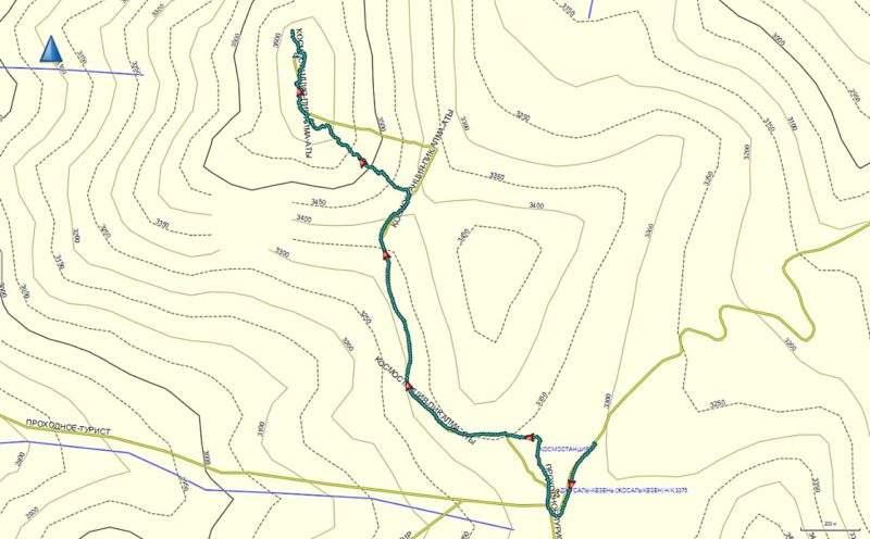 Карта маршрута на Большой Алматинский пик с Космостанции