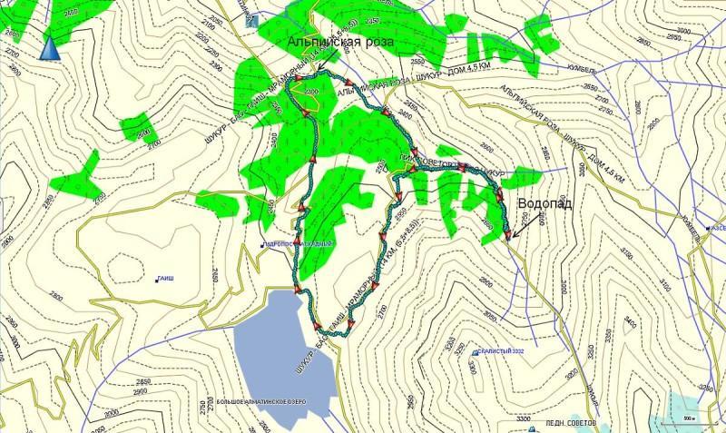 Карта отель Альпийска роза-Лунная поляна в Шукуре-Водопад-БАО