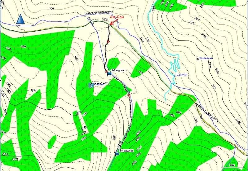 Карта треккинга к водопадам ущелья Аюсай