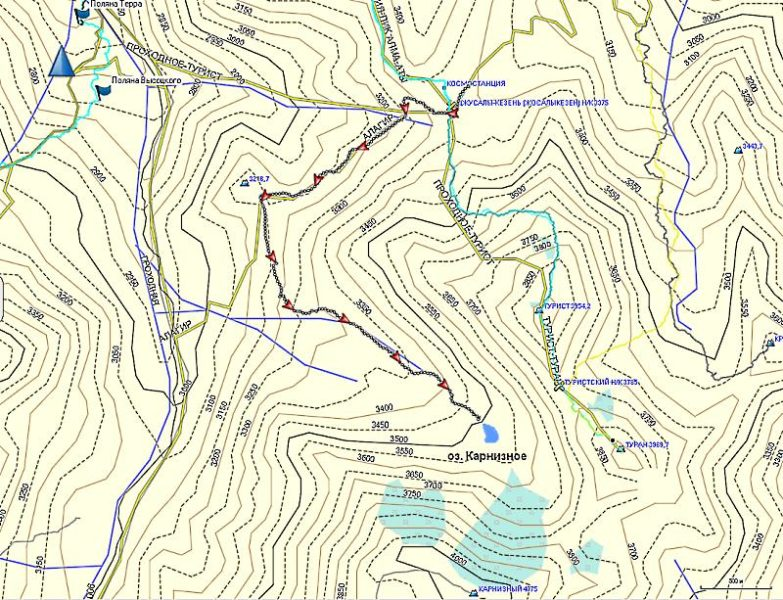 Карта трека на Карнизное озеро