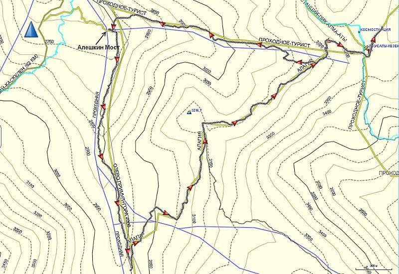Карта трека от Космостанции до Алешкиного моста
