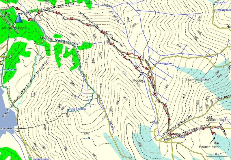 Карта треков к озерам ледника Локомотив