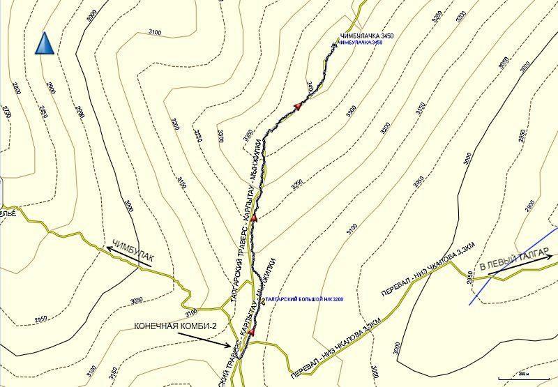 Карта трека на Чимбулачку от Талгарского пер.