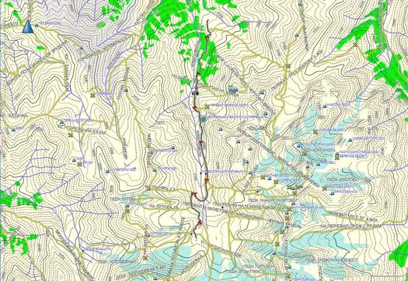 Карта трека до озера ледника Молодежный