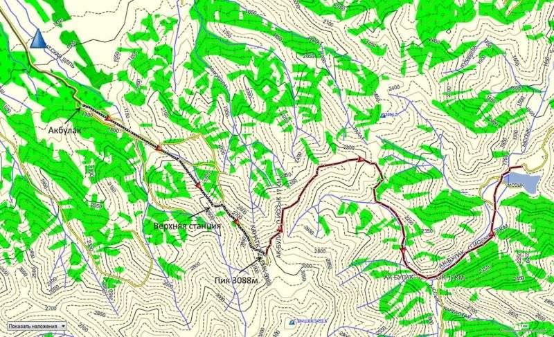 Карта трека от Акбулака до горы 3088м и далее до Иссыкского озер