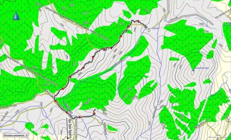 Карта трека от Просвещенца до верховьев речки Батарейки