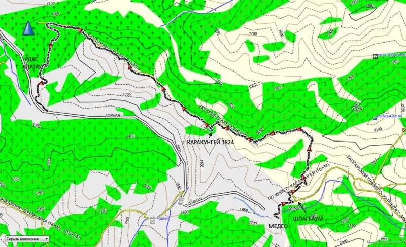 Карта трека по хребту Каракунгей
