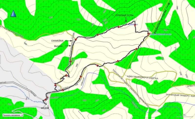 Карта трека на гору Серкебай