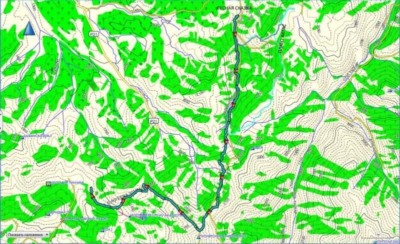 Карта маршрута из Лесной Сказки в Бутаковское ущелье