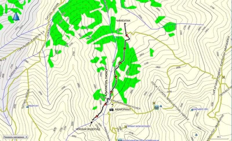Карта маршрута Чимбулак-Черный водопад