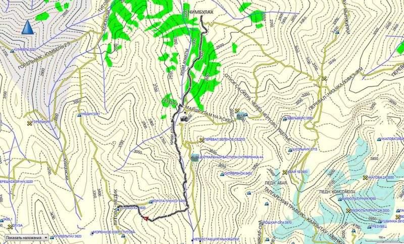 Карта маршрута на пик Мынжилки от Чимбулака