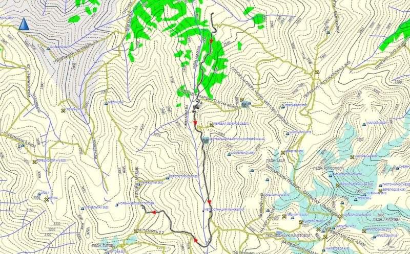 Карта маршрута на пик Память от Чимбулака