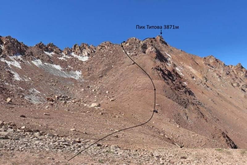 Путь подъема на пик Титова с перевала Титова
